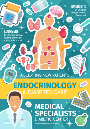 Diabetes clinic poster for endocrinology medicine design. Endocrinologist doctor, organs of endocrine system and medical treatment banner with heart, brain and thyroid gland, pill, insulin and larynx Archivio Fotografico - 112004380