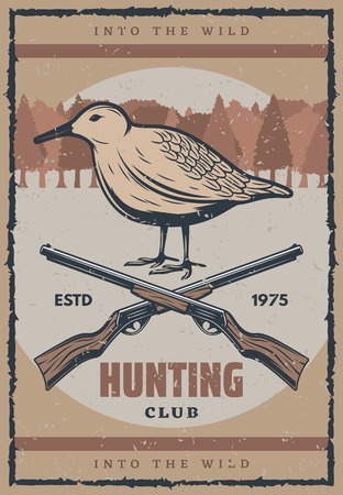 Bird hunt retro poster for hunting sport club design. Wild grouse grunge banner with vintage hunter rifle gun and forest tree on background for promo flyer template