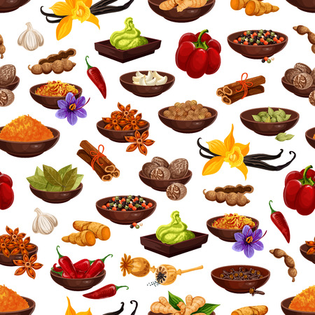 Spice and herb seamless pattern background with aroma food ingredient. Clove, anise star and pepper, cinnamon, ginger and vanilla, cardamom, nutmeg and garlic, cumin, saffron, chili and turmeric Ilustracja