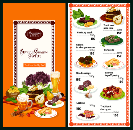 German cuisine restaurant menu template with European dinner dish. Beef meat steak and pork roll, salmon fish pie, blood sausage and meatball, chocolate pear cake and cherry pie dessert banner design