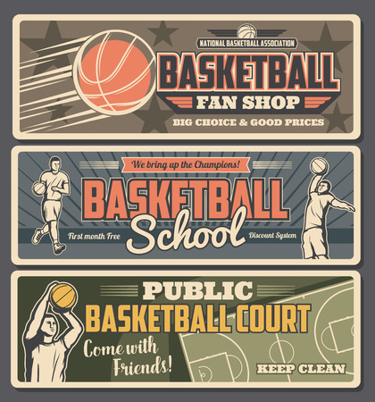 Basketball school or shop with court retro banners with professional players in uniform with ball. Sport club and team game on field for champions, physical activity, basketball court advert