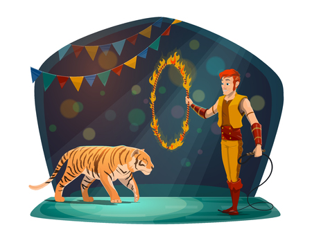 Circus performance with tiger jumping through fire ring and handler in scenic costume. Spectacular entertainment, man with circle in flame and wild dangerous animal ready to show trick vector 版權商用圖片 - 112004384