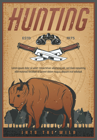Hunting sport old grunge banner with wild bison animal. Brown buffalo or ox bull retro poster with hunter knife, binoculars and vintage compass rose for hunt animal open season design Ilustração