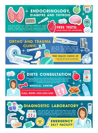 Medical clinic and diagnostic laboratory banners for traumatology, endocrinology and orthopedics medicine. Doctor, stethoscope and heart, pill, syringe, brain and bone x-ray flyers for hospital design Illustration