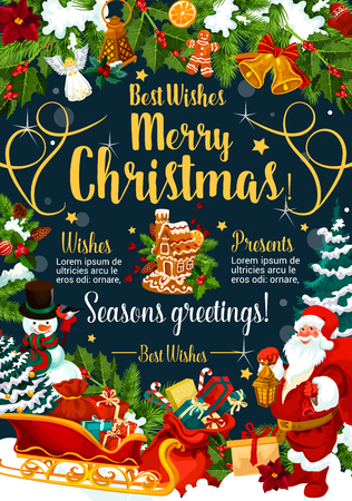 Merry Christmas wishes festive poster with winter holidays gift. Santa, snowman and sleigh with Xmas tree, present and holly berry greeting card, framed by New Year garland of fir branch, bell and bow