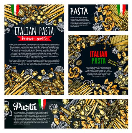 Pasta food of italian spaghetti and macaroni sketch banner set. Fusilli, farfalle and noodle, tagliatelle, conchiglie and rigatoni, fettuccine, lasagna and orzo poster for restaurant menu cover design