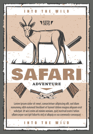 African antelope animal with hunter rifle vintage banner for safari adventure template. Gazelle, weapon gun and huntsman knife retro grunge badge for hunting sport camp or safari tour poster design Çizim