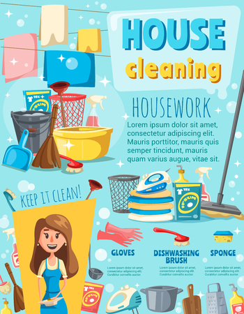 House cleaning poster with housework item and housewife. Clean spray, brush and mop, bucket, glove and broom, detergent bottle, sponge and laundry work equipment banner for house chore design