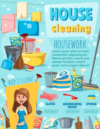 Huisreinigingsposter met huishoudelijk werkitem en huisvrouw. Schone spray, borstel en dweil, emmer, handschoen en bezem, wasmiddelfles, spons en waswerkuitrustingbanner voor het ontwerp van huiskarweien Vector Illustratie