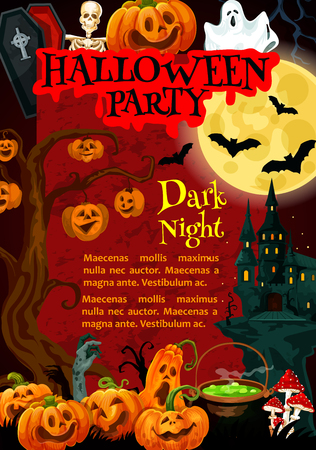 Halloween party invitation poster with october holiday night monsters. Spooky house festive banner with ghost, pumpkin lantern and bat, full moon, skeleton skull and zombie for promotion banner design