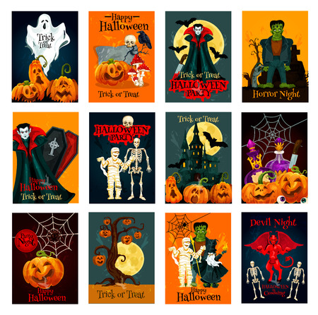 Halloween holiday trick or treat greeting card set. Halloween pumpkin lantern, spider and bat, ghost, skeleton skull and zombie, Dracula vampire and haunted house, devil, mummy and moon card design Illustration