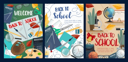 Welcome to school autumnal posters with fall leaves and stationery. Notebooks and pencils, brush and palette, calculator and baseball glove, glasses and alarm clock, basketball and backpack vector Illustration