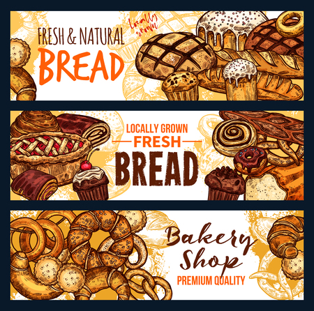 Fresh bread and pastry food sketch banner for bakery shop. Wheat bread, french croissant and baguette, cinnamon bun, fruit pie and cupcake, donut, cake and german pretzel for cafe menu cover design
