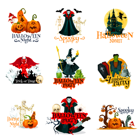 Halloween horror party badge set. Festive october pumpkin lantern, skeleton and bat, ghost haunted house, skull and zombie, vampire, mummy and wizard, cemetery and gravestone for autumn holiday design Illustration