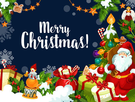 Merry Christmas greeting card and best wishes for Xmas winter holiday season. Vector Santa with gifts and decorations under Christmas tree, snowflakes and holly wreath in New Year snow