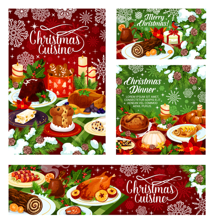 Christmas dinner banner of festive table with Xmas food. Baked turkey and fish, cookie, fruit pudding and cake, mulled wine and nut dessert with holly berry, candle and snowflake for Xmas party design