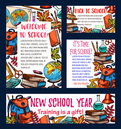 Back to school banner of new school year celebration template. School supplies sketch poster and greeting card design with student book, pencil and ruler, globe, paint and backpack, calculator and map