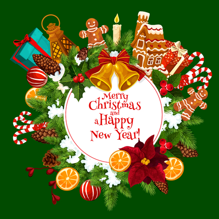 Christmas and New Year greeting card with Xmas tree wreath and gift. Winter holiday bell, gift and candle, snowflake, candy, ball and cookie, ribbon bow, gingerbread man and holly berry branch