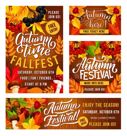 Carteles de invitación al festival de otoño del Día de Acción de Gracias para la celebración del festival tradicional. Diseño vectorial de cosecha de frutas y verduras de otoño con hojas de arce y bayas Ilustración de vector