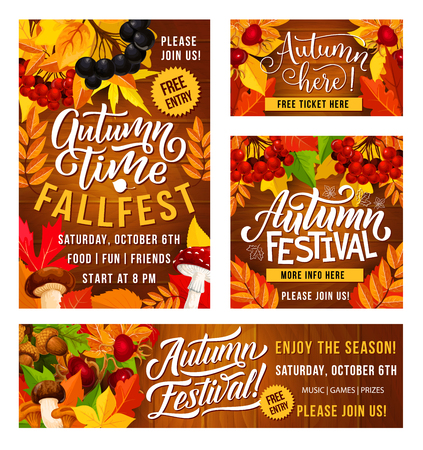 Thanksgiving Day fall fest invitation posters for traditional holiday festival celebration. Vector design of autumn vegetables and fruits harvest with maple leaf and berries Foto de archivo - 112004406