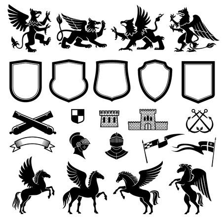 Heraldyczne zwierzęta i elementy projektu herbu lub herbu i insygniów szablonu. Średniowieczna tarcza, rycerz i flaga, gryf, pegaz i sztandar wstążkowy, wieża, skrzyżowana broń i kotwica do projektowania heraldyki