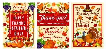 Glücklicher Erntedankfest-Feiertagsgrußkartensatz gesetzt für Herbsterntefeier. November Festival Kürbis, Truthahn und Pilger Hut Banner, dekoriert mit Obst, Gemüse und Laub, Mais und Weizen