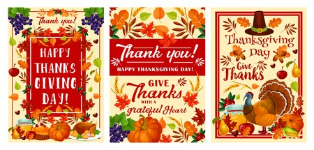 Happy Thanksgiving Day holiday greeting card set for autumn harvest celebration. November festival pumpkin, turkey and pilgrim hat banner, decorated by fruit, vegetable and fallen leaf, corn and wheat Vettoriali