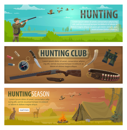 Hunting sport banners with hunter equipments and huntsman camp items. Hunter, rifle and duck, deer, shotgun and weapon, knife, cartridge belt and binoculars, compass and tent web flyers design