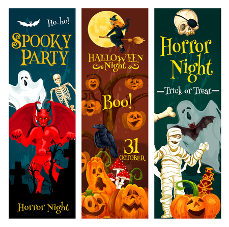 Halloween horror night trick or treat party invitation banner. Autumn holiday pumpkin, witch and ghost, skeleton skull, bat and devil demon, mummy and cemetery gravestone for festive poster design