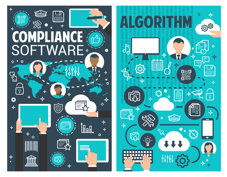 Business process algorithm and compliance software banner set for information technology concept. Computer and mobile application development for conforming to standard, market research and analysis Vector Illustration