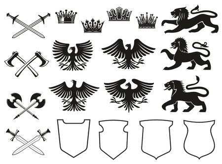 Heraldic element set of bird, animal and crown, medieval shield and crossed sword. Eagle, lion and vintage royal crown, falcon, hawk and battle axe black icon for coat of arms and heraldry design Ilustração