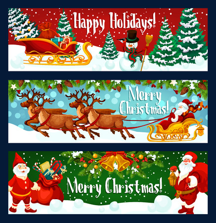 Christmas holiday banner with Santa Claus sleigh and New Year gift. Xmas tree with bell, ball and snowflake, Santa, snowman, present and reindeer greeting card, adorned by holly berry, candy and star
