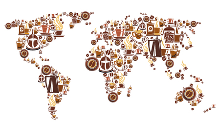 Cartel del mundo del café con mapa de taza de bebida caliente. Cafetera, molinillo y taza de espresso, capuchino y bebida con leche, símbolo marrón de frijol y platillo en forma de continente para el diseño del menú de cafetería