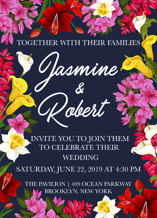 Wedding celebration party invitation card with festive flower frame. Spring daffodil, tulip and calla lily, garden phlox and delphinium branch for marriage anniversary floral banner design