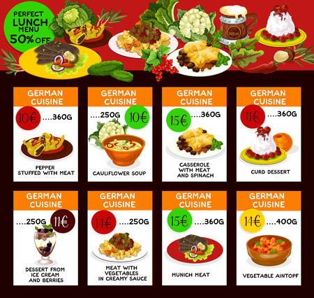 German cuisine restaurant menu cards with special offer for lunch dish. Meat casserole, pasta and stuffed pepper, vegetable stew and soup, fruit and dairy desserts promo poster design