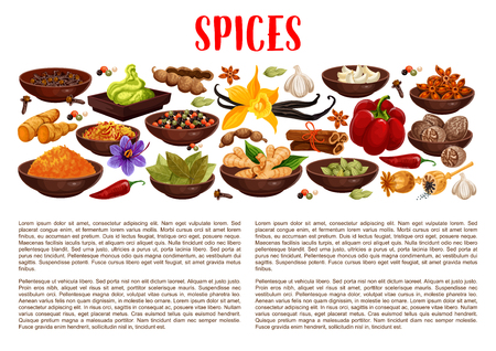 Spices banner with aroma food condiments and spicy seasoning border. Pepper, chili and ginger, cinnamon, vanilla and star anise, nutmeg, cardamom and bay leaf, garlic, saffron, turmeric and wasabi Иллюстрация