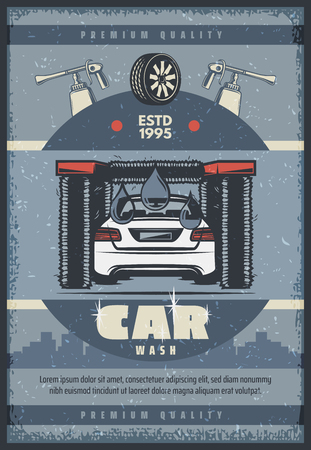 Car wash service vintage poster for auto washing station advertising design. Tunnel car wash with vehicle and rotating brush retro grunge banner, decorated with wheel and water drop Çizim