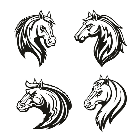 Horse animal icon of tribal tattoo or racing sport mascot. Head of black stallion, wild mustang or racehorse symbol of aggressive horse for breeding farm, riding club emblem or equestrian theme design Zdjęcie Seryjne - 112004428
