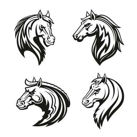 Icône animal cheval de tatouage tribal ou mascotte de sport de course. Tête d'étalon noir, mustang sauvage ou cheval de course symbole de cheval agressif pour ferme d'élevage, emblème de club d'équitation ou conception de thème équestre