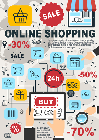 Online shopping and internet store poster for web shop orders. Vector design of shopping cart, credit card and barcode with discount for user computer or smartphone buy and pay or delivery application Vektorové ilustrace