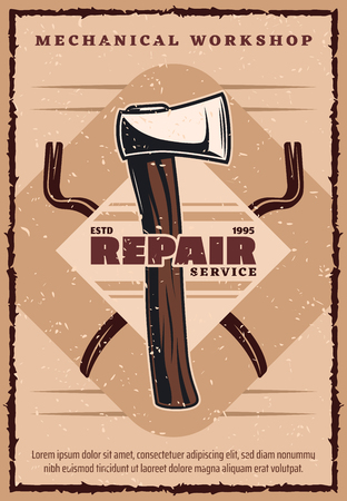 Repair service vintage banner for house construction and home renovation company template. Work tool retro badge of axe and crossed crowbar for building industry old grunge poster design Stock fotó - 106373479