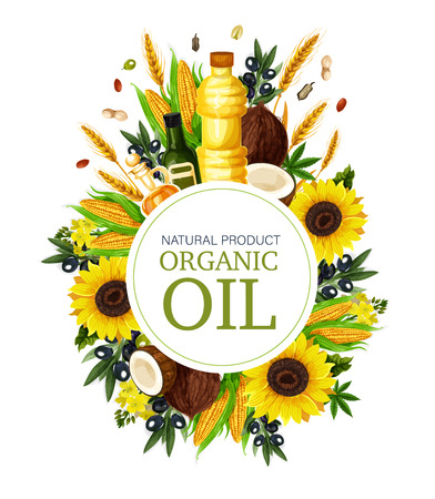 Cooking and food oil products poster. Vector design of extra virgin olive, sunflower seed or coconut and peanut, flax or hemp and corn oil bottles for farmer market