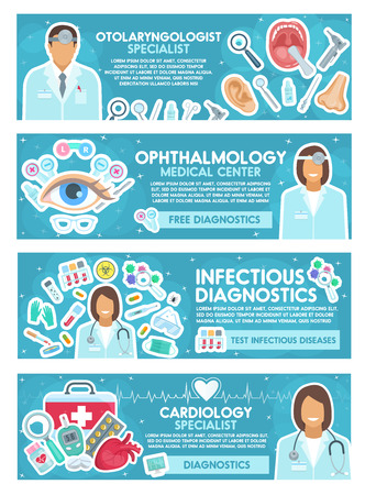 Cardiology, ophthalmology, ENT and infectious disease banner for hospital medicine design. Doctor medical specialist with tool, pill and test tube for diagnostic laboratory and medical clinic poster Illustration