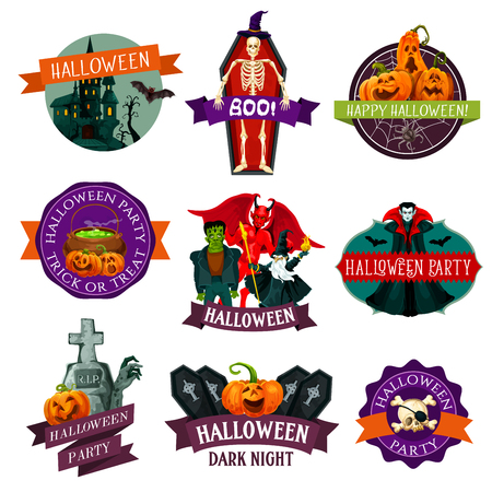 Halloween holiday label with horror monster and ribbon banner. Pumpkin lantern, ghost house and bat, spider net, skeleton skull and witch hat, zombie, vampire and devil demon festive badge design