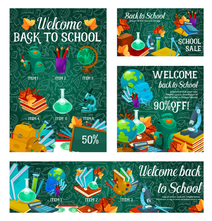 School sale promotion banner template set. Back to school special offer poster with pencil, book, paint and globe, calculator, scissors and backpack on chalkboard background with stationery pattern
