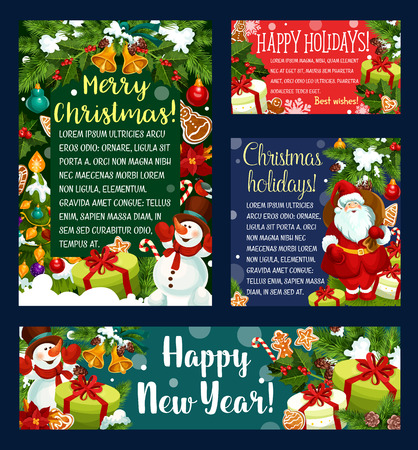Christmas and New Year holidays greeting card and banner template. Santa with Xmas tree, gift and bell, snowman with snowflake, ball and candy, ribbon, cookie and holly for Xmas celebration design