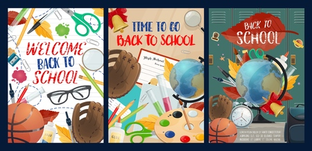Back to school posters with fall leaves and stationery. Basketball and glasses, notebook and globe, lockers and baseball glove, palette and flasks, pen and pencils, scissors and magnifier vector
