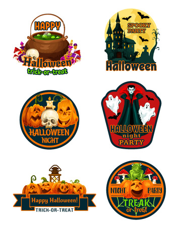 Halloween night party label set with october holiday horror pumpkin. Jack o lantern, ghost and bat, spooky house, skeleton skull and witch potion, spider net and ribbon banner with greeting wishes Vetores