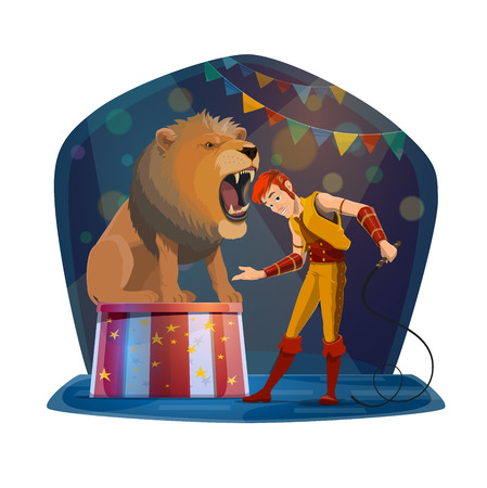 Circus show with handler putting head in lion mouth. Wild beast and man in stage costume, dangerous trick with animal or predator sitting with open mouth, entertainment performance vector isolated Illustration