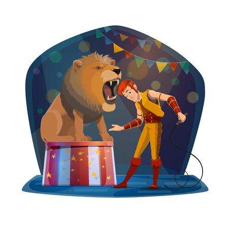 Zirkusshow mit dem Führer, der den Kopf in das Löwenmaul steckt Wildes Tier und Mann im Bühnenkostüm, gefährlicher Trick mit Tier oder Raubtier, das mit offenem Mund sitzt, Unterhaltungsleistungsvektor isoliert Vektorgrafik